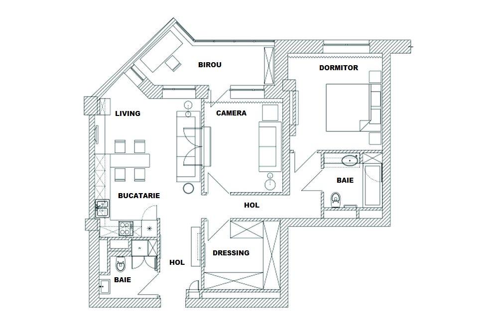 adelaparvu.com despre living impartit in doua camere, apartament 75 mp, Moscova, design Enjoy Home (1)