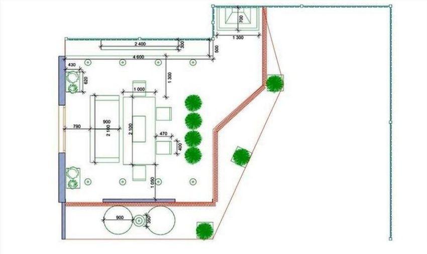 adelaparvu.com despre terasa cu bucatarie de vara,40 mp, Malakhovka, Rusia, Design Roman Belyanin si Alexei Zhbankov, plan