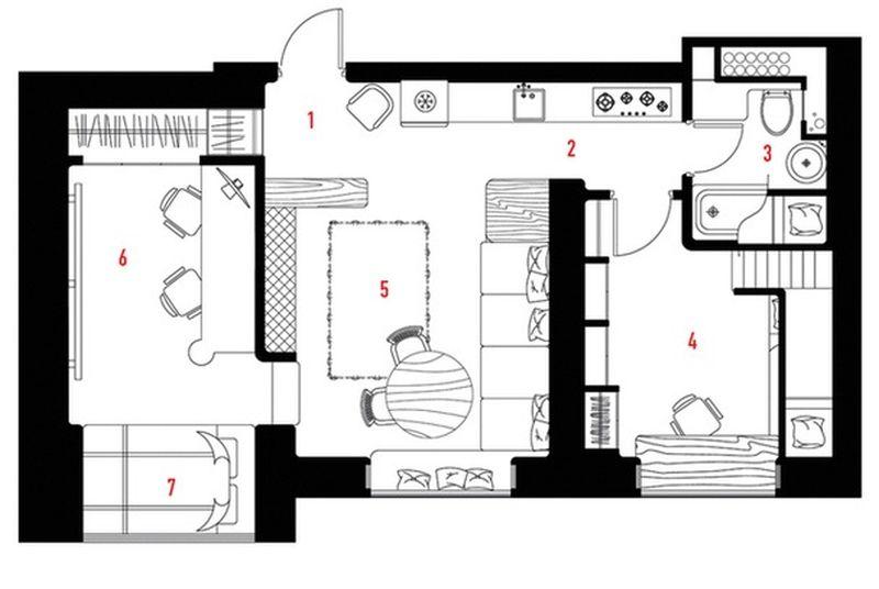 adelaparvu.com despre apartament 2 camere, 40 mp, Moscova, design Elena si Kirill Cheburashkin, Foto Sergey Ananiev (3)