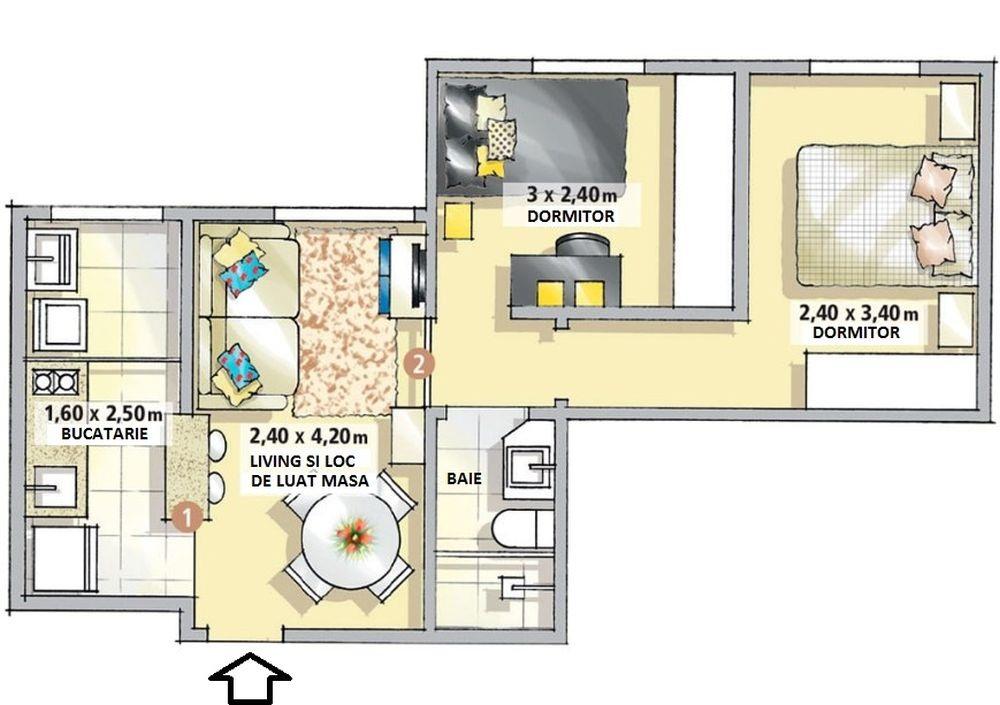 adelaparvu.com despre apartament 37 mp cu 2 dormitoare, Brazilia, design Only Design de Interiores, PLAN