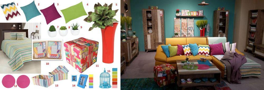 adelaparvu.com despre decorarea livingului, ambient si mood board in stil etno colorat Kika