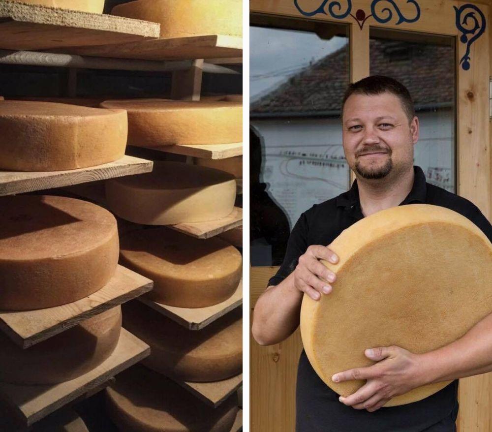 Istvan Varga produce alături de familia sa brânză maturată la Manufactura de brânză din Cund, județul Mureș
