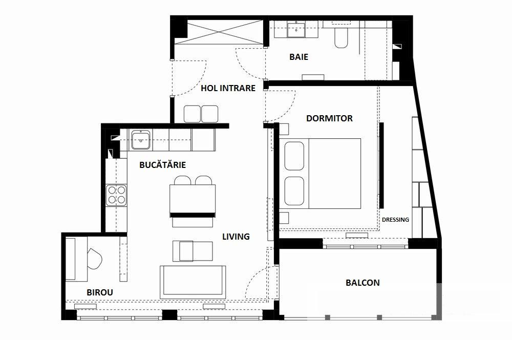 adelaparvu.com despre apartament 55 mp cu loc tv in centrul livingului, Design interior Justyna Lewicka Design (1)