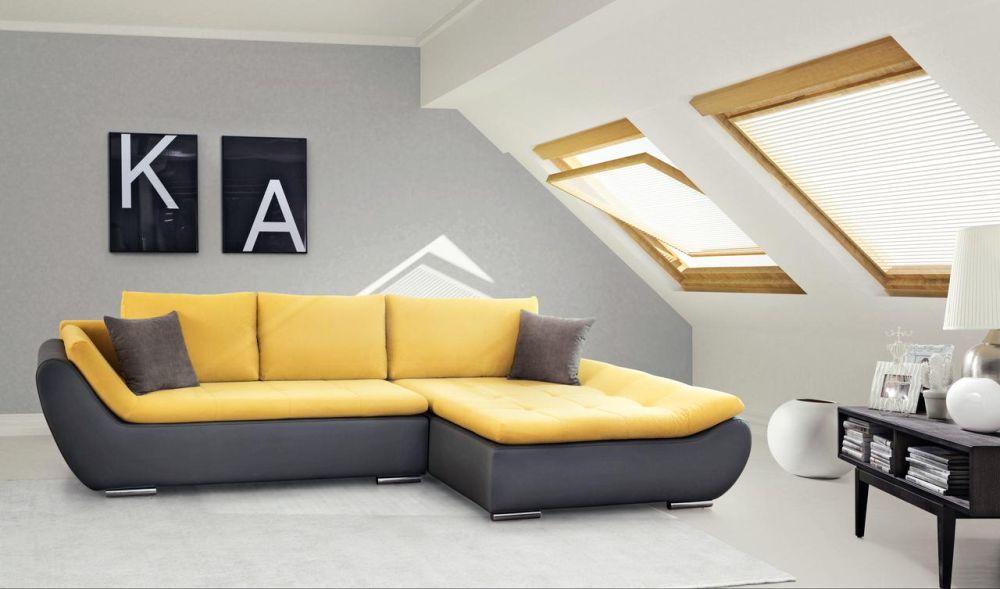 """Colțar """"Ariva"""" include funcție de pat cu suprafaţă dormit de 135 x 230 cm. De asemenea, are și ladă de depozitare. Dimensiuni: L305 x H84 x A180 cm. VEZI PREȚ AICI."""