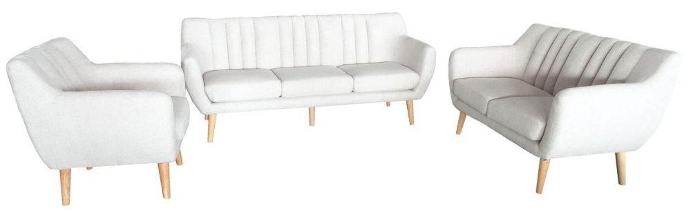 """Canapea """"Florance"""" cu husă din stofă de culoare deschisă și picioare din lemn. Dimensiuni L/H/A:193x 83 x82 cm. VEZI PREȚ AICI"""
