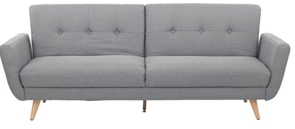 """Canapea """"Lewis"""" cu stofă gri și picioare din lemn natur. Dimensiuni L167 x H89 x A82 cm. VEZI PREȚ AICI."""