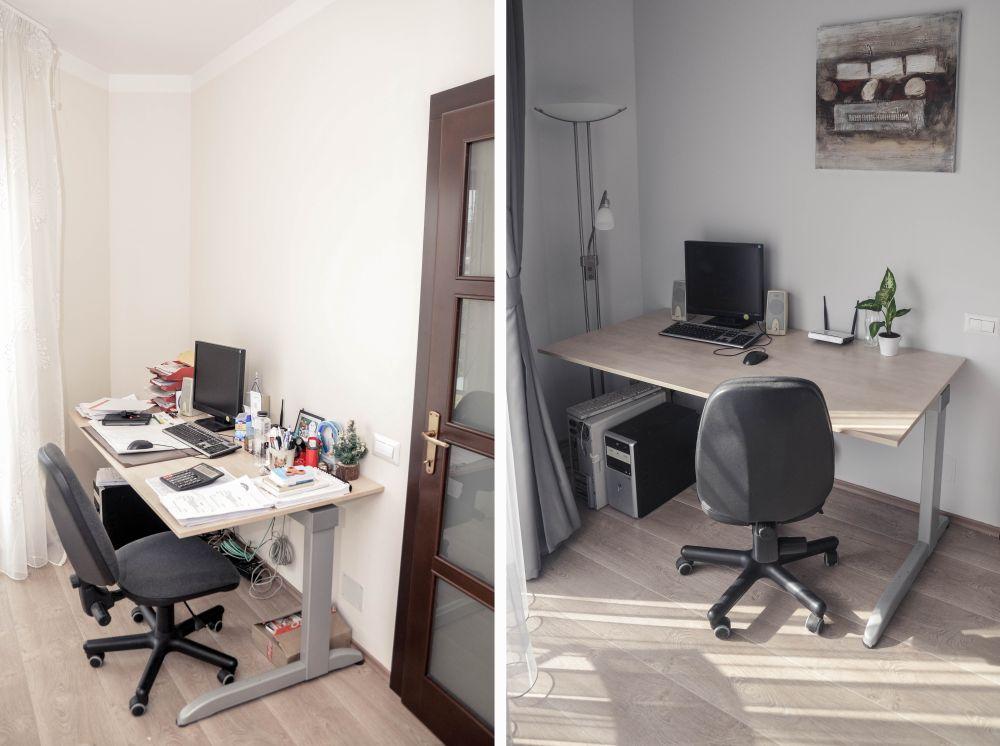 Birou înainte și după redecorare.