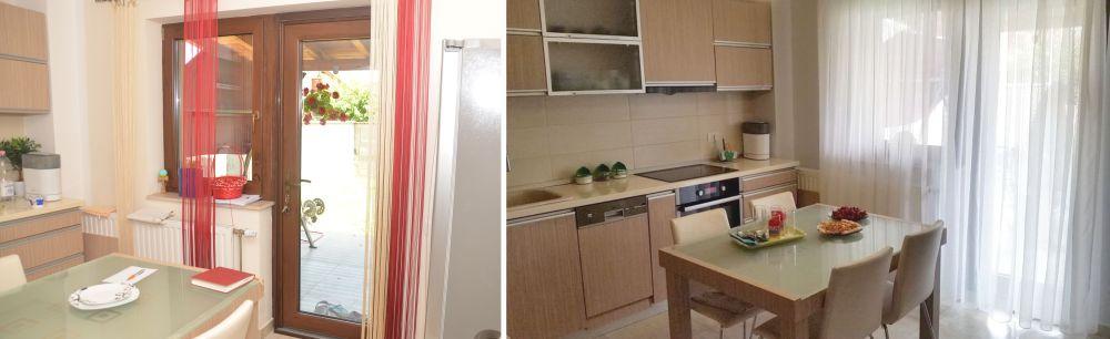 Bucătăria înainte și după redecorare.