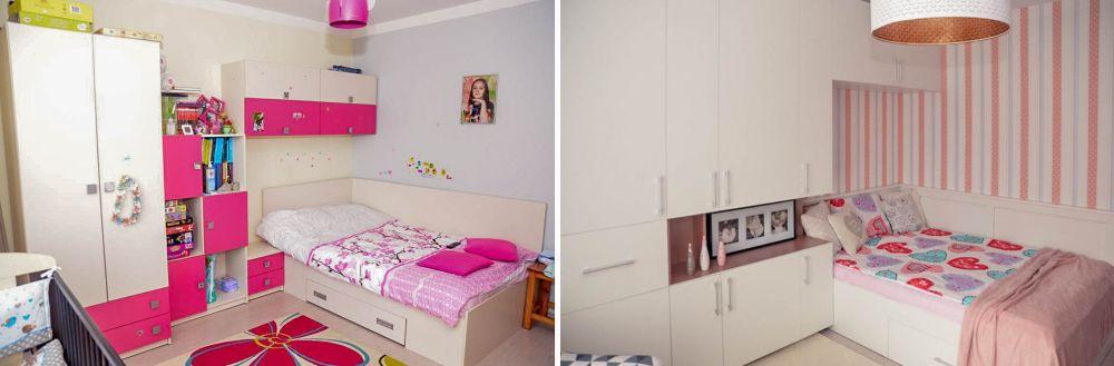 Camera Dariei înainte și după redecorare.