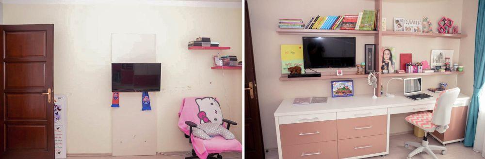 Camera Dariei înainte și după decorare - zon de birou.