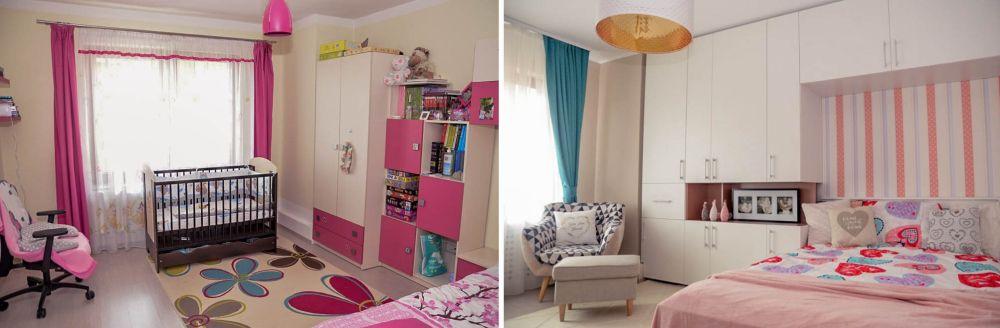 Camera fetiței înainte și după amenajare.