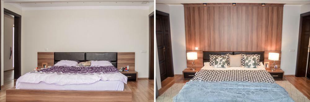 Dormitorul matrimonial înainte și după reamenajare.
