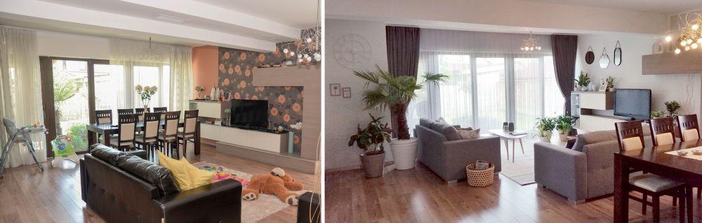 Livingul înainte și după redecorare.