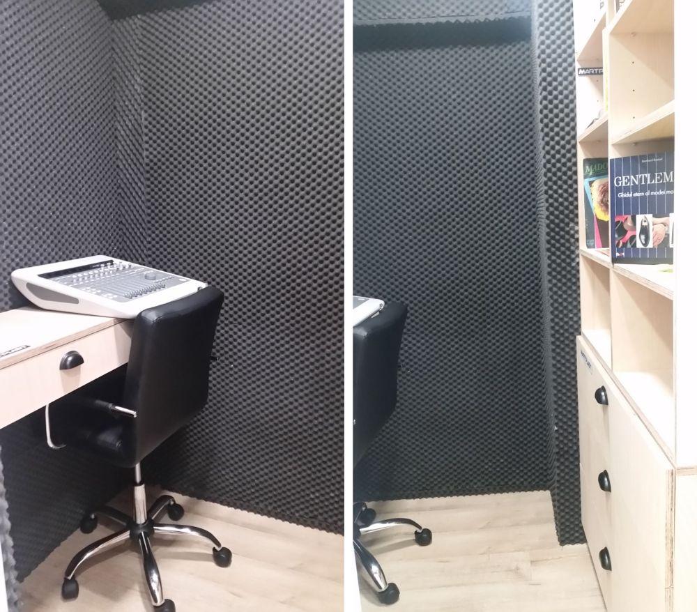 În a doua baie, care era dezafectată, colegul nostru Omid a amenajat un mic studio de înregistrări pentru Gabriel.