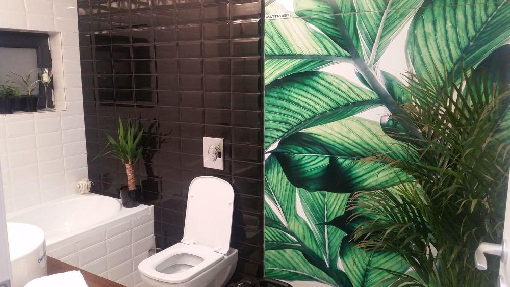 Vasul wc a fost mutat în lateralul noii căzi de baie, aproape de placarea care maschează accesul către magazie.
