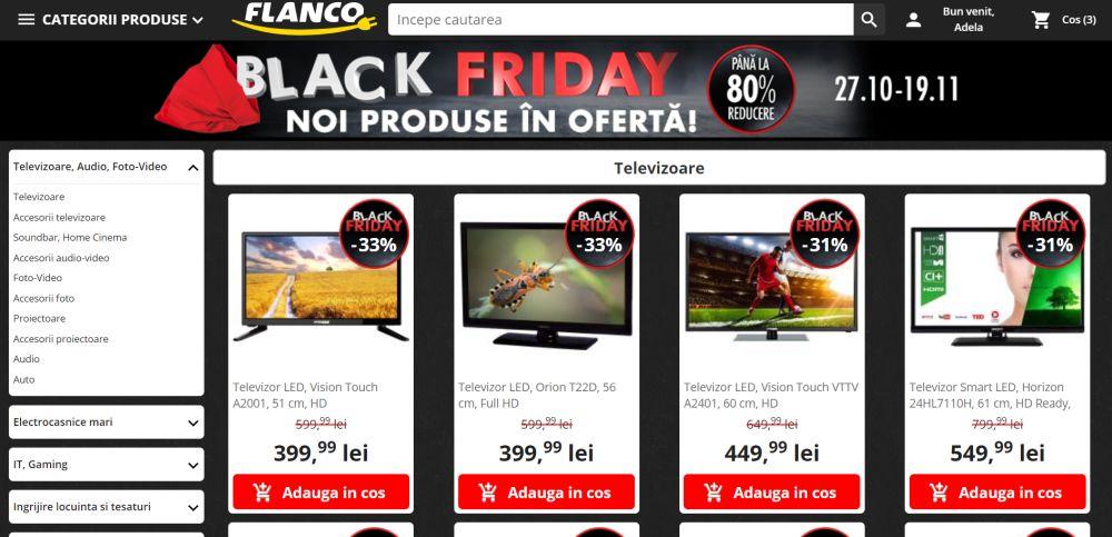 În perioada 27 octombrie – 19 noiembrie 2017, Flanco va desfășura cea de-a șaptea ediție Black Friday, cea mai importantă campanie a anului, în care va oferi reduceri de până la 80%, la o mulțime de produse, printre care: 100.000 de televizoare, 50.000 de telefoane, 70.000 de electrocasnice mari, 140.000 de electrocasnice mici, 25.000 de notebook-uri. Punctul culminant al reducerilor va fi weekendul 17-19 noiembrie, când oferta Flanco va fi actualizată cu noi oferte atractive. Campania Black Friday va avea loc în cele 123 de magazine ale retailerului, din toată țara, și pe www.flanco.ro.