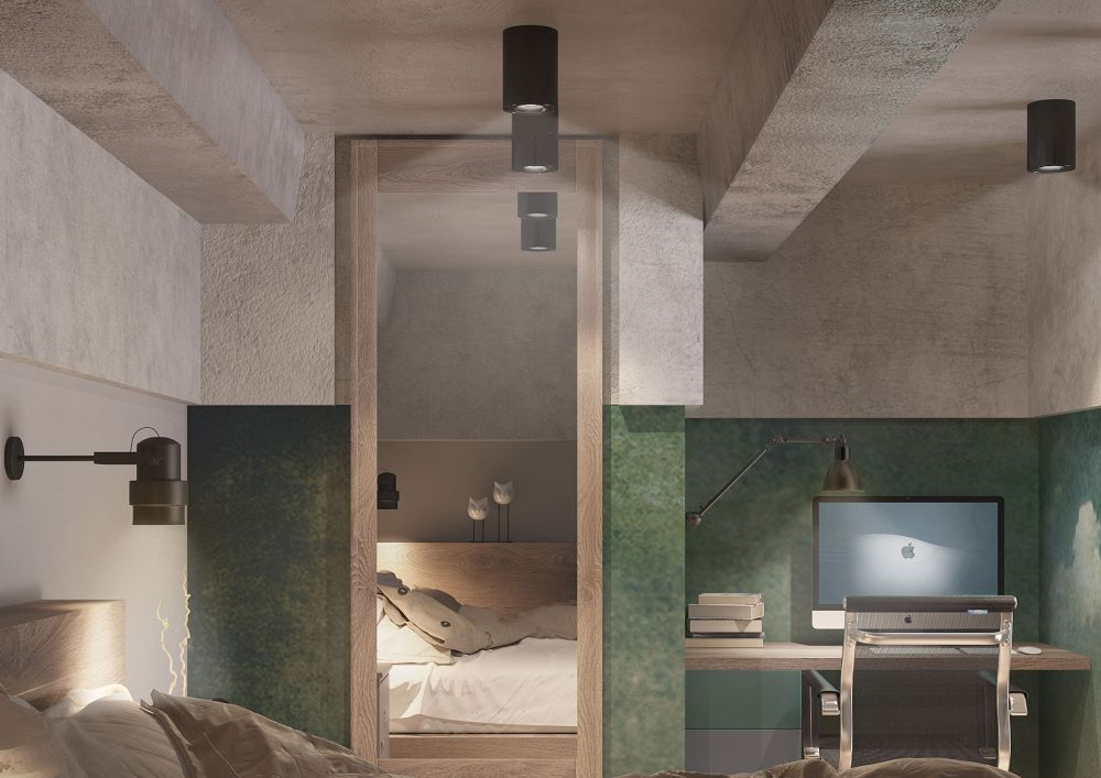 Vizualizare 3D cu zona de birou de la supantă conform proiectului refăcut de designerul Ida