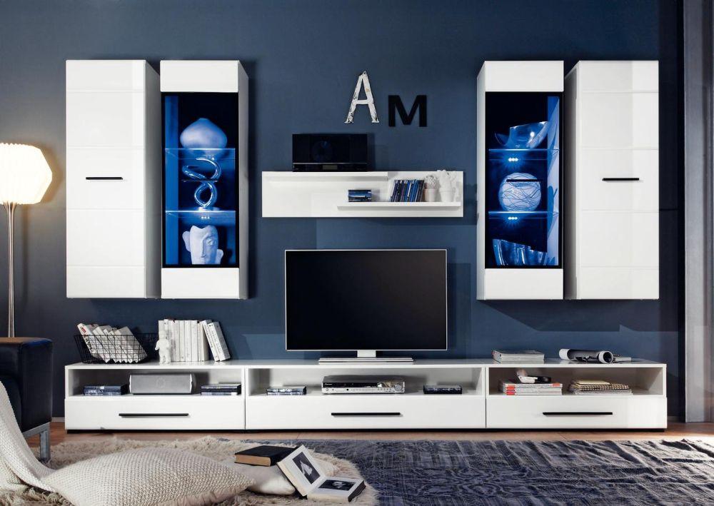"""Living """"Attenzione"""" Reducere 25%. Preț întreg: 1.999 lei/ Preț redus: 1.499 lei Include: 1 poliţă, 2 corpuri suspendate, 2 vitrine suspendate şi comodă TV Include iluminare LED. Vezi descriere și dimensiuni AICI"""