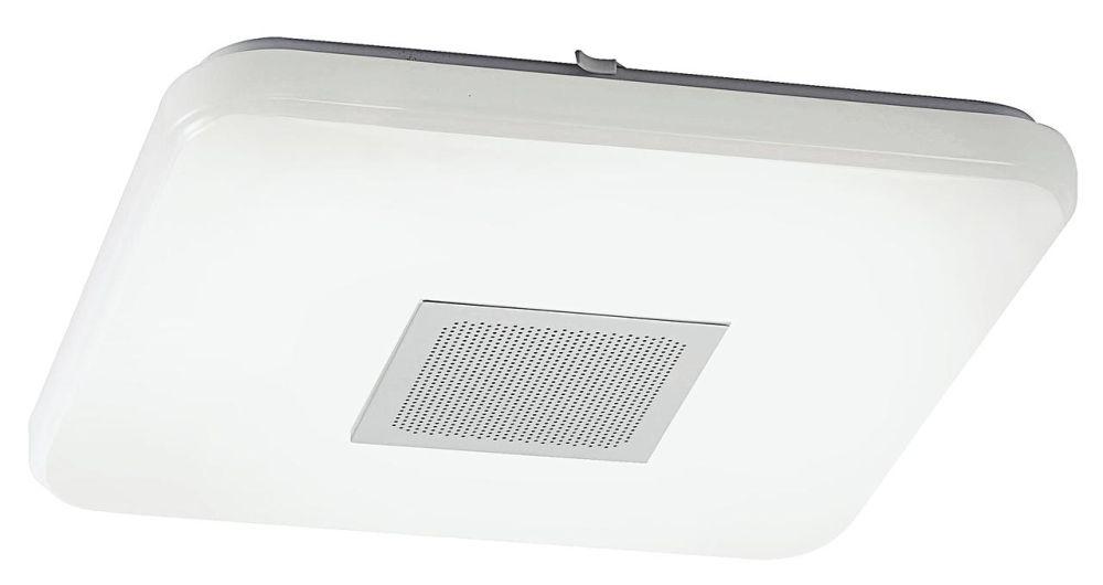 """Plafoniera """"Pelvo"""" Reducere 40%. Preț întreg 499 lei/ Preț redus 299 lei. Plafoniera are inclusă boxă audio de 5W, poate fi conectată prin Bluetooth, oferă o lumină LED albă de 35W, care poate fi comutată pe cald sau rece prin telecomandă.Dimensiune: 43 x 43 x 7 cm. VEZI AICI."""