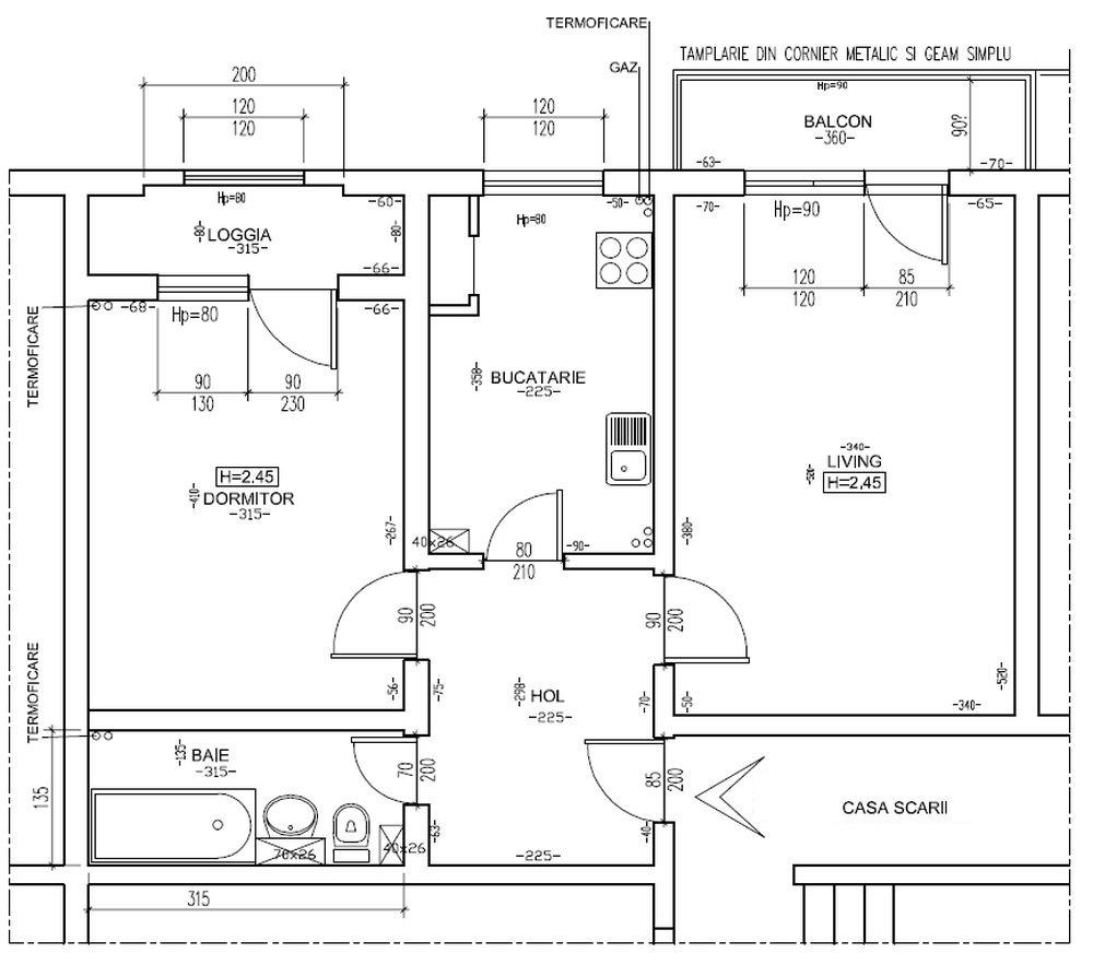 Planul locuinței înainte de renovarea făcută de către echipa Visuri la cheie.