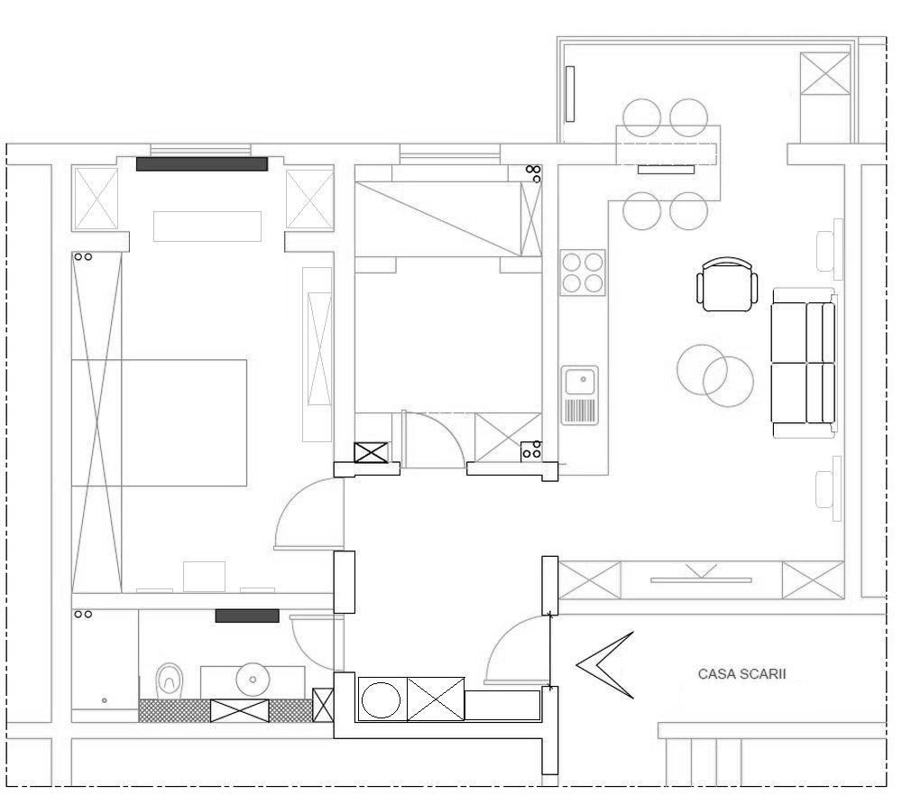 Planul locuinței după renovarea făcută de către echipa visuri la cheie.