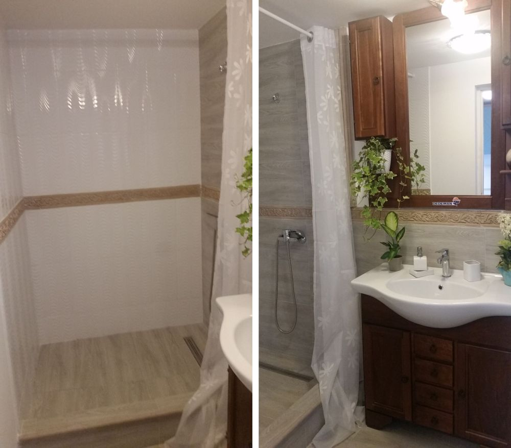 Spațiul alocat băii nu a permis instalarea unei căzi de baie, așa că aici există loc de duș.