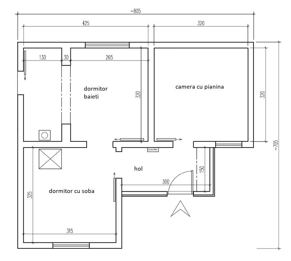 Planul casei vechi, unde camera cu pianina a devenit dormitorul mamei, dormitorul cu soba a devenit living, dormitorul baietilor a devnit partial bucatarie și partial baie, holul fiind păstrat ca atare.