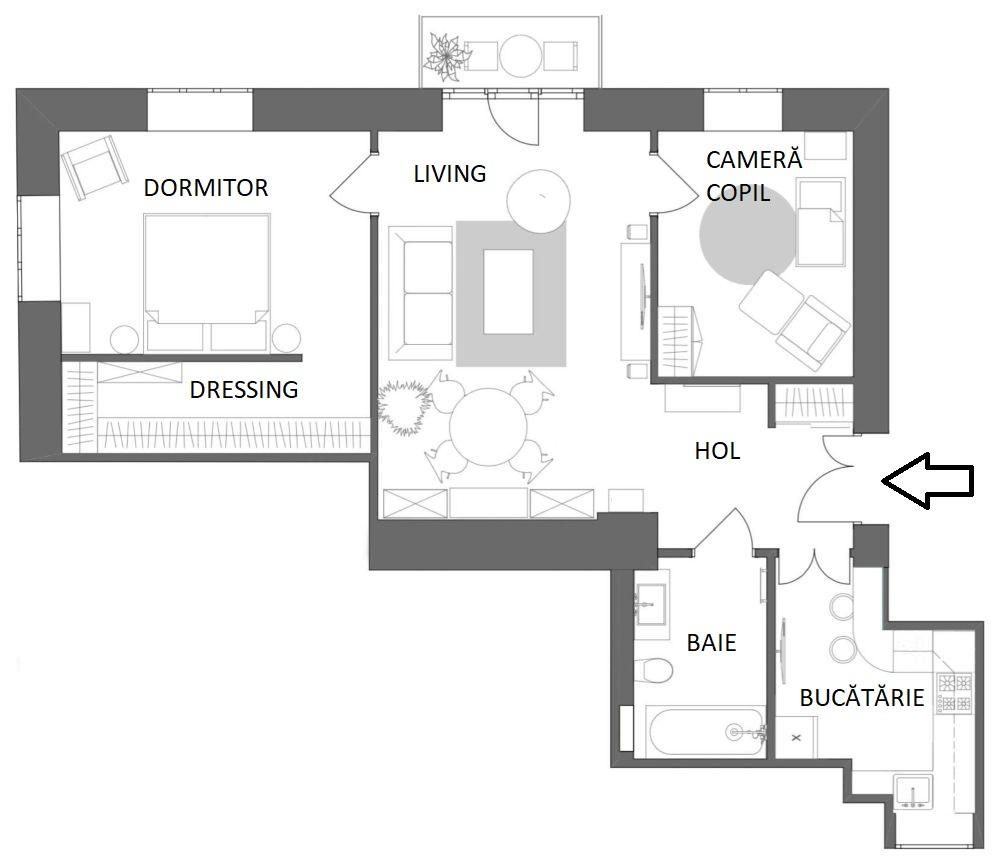 adelaparvu.com despre amenajare in stil francez apartament 72 mp, Moscova, designer Anna Kolpakova, Foto Dina Aleksandrova (4)