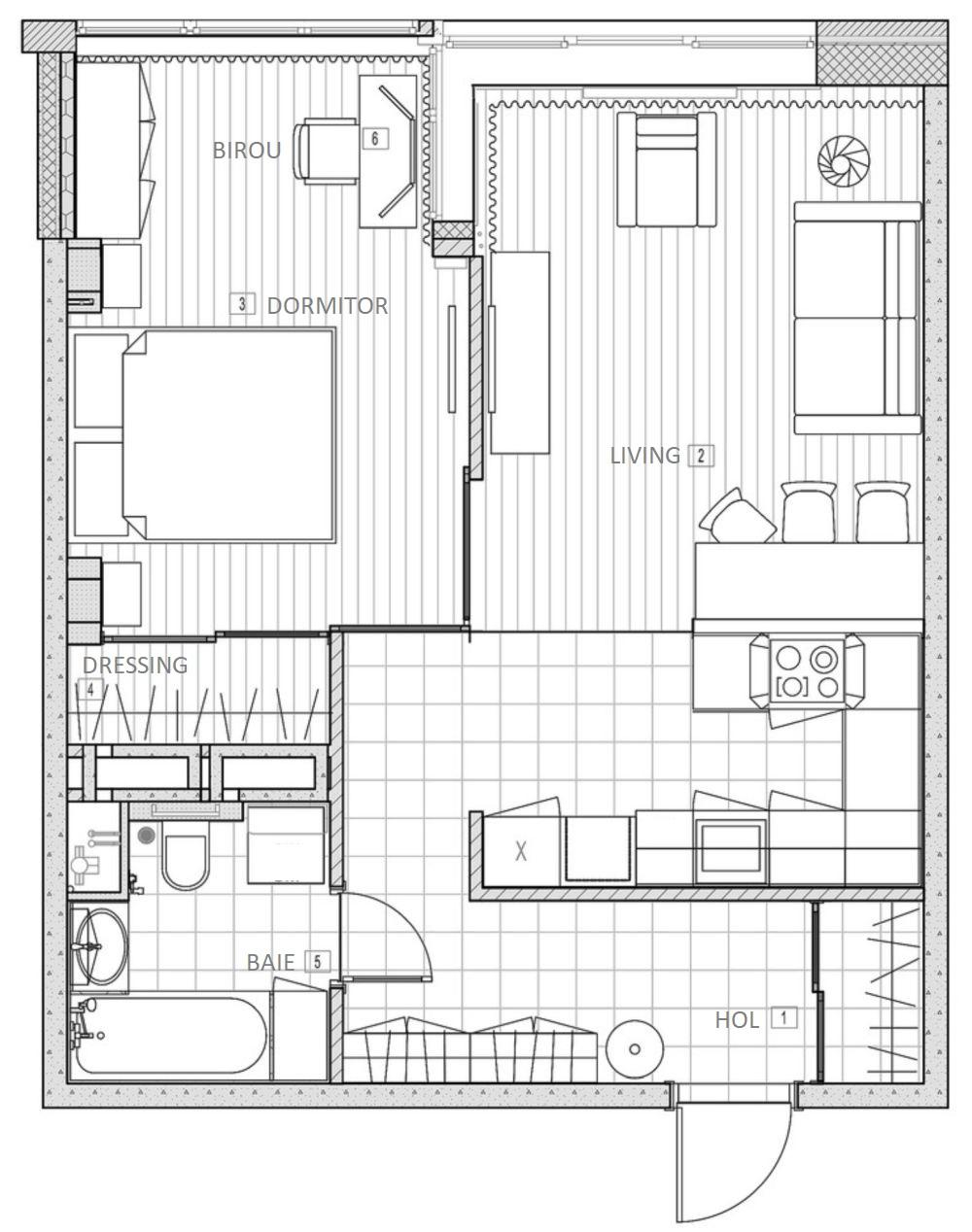 adelaparvu.com despre apartament 2 camere 50 mp, design interior SunWaveStudio, foto Sergey Krasyuk (22)