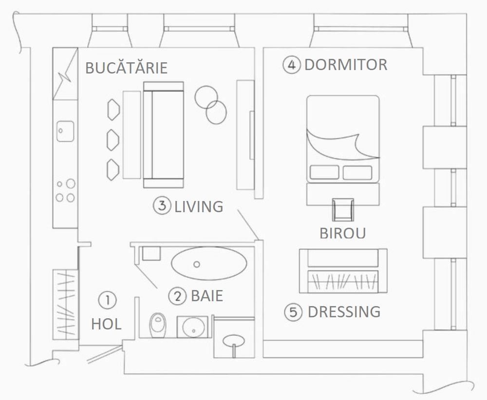 adelaparvu.com despre apartament 2 camere 57 mp, Moscova, design In-Deco, Foto Sergey Ananiev (1)