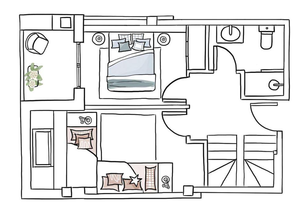 Planul celui de-al doilea nivel cu dormitoarele. Fiecare nivel măsoară 30 mp.