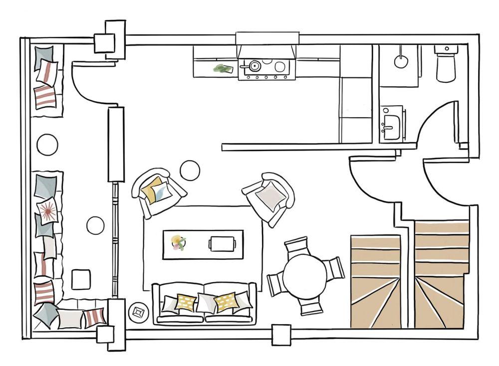 Planul de la primul nivel cu living, bucătărie, balcon, baie și scara interioară de acces către etaj
