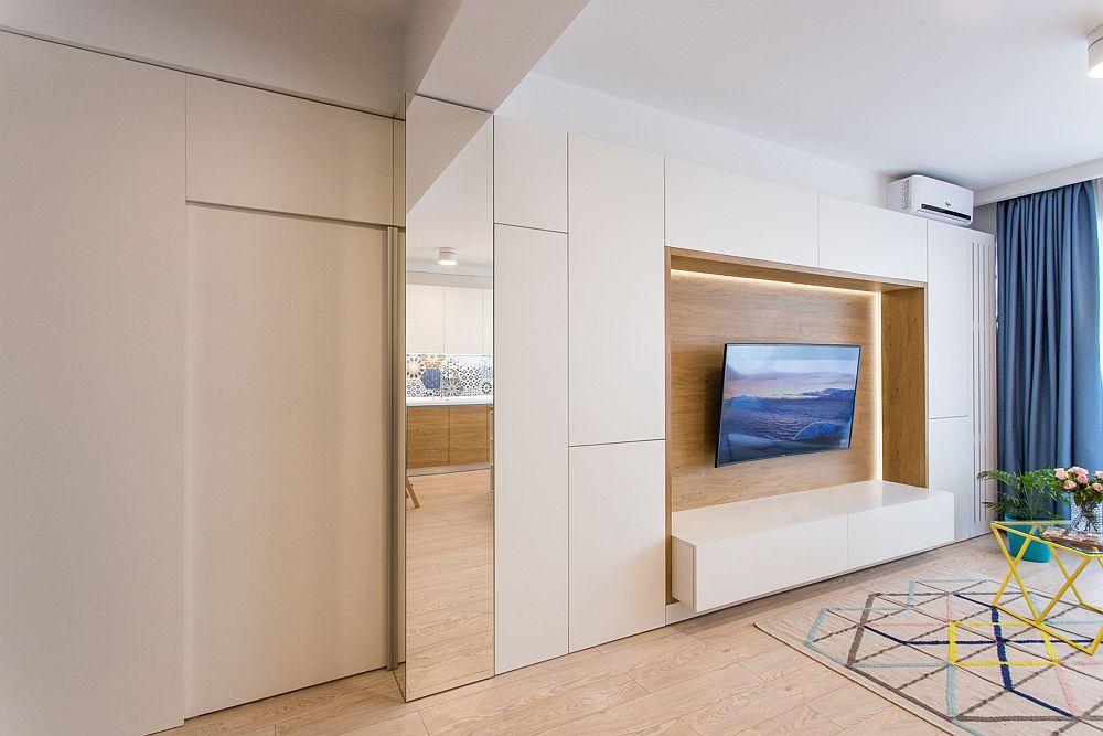 Ușa ce delimitează holul este culisantă de tip mobilier, iar pentur a fi frumos integrată peretele dinspre ușa de la intrare a fost și el placat. Sub această placare distanțată se ascunde ușa atunci când este deschisă. Fiind o ușă de tip mobilier nu a avut nevoie de bandă sau roți la nivelul pardoselii.