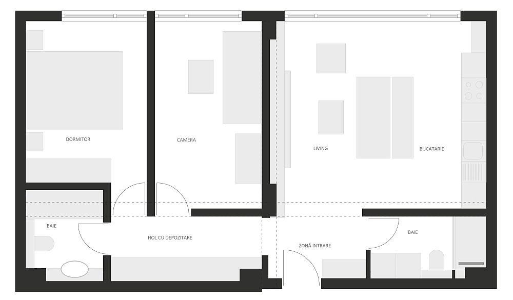 Designerii de la Davisign nu au intervenit în compartimentarea apartamentului. Între living și bucătărie exista un parapet din BCA, dar aceasta fost înlocuit cu o piesă de mobilă. În rest, prin mobilare, s-a separat holul către dormitoare.