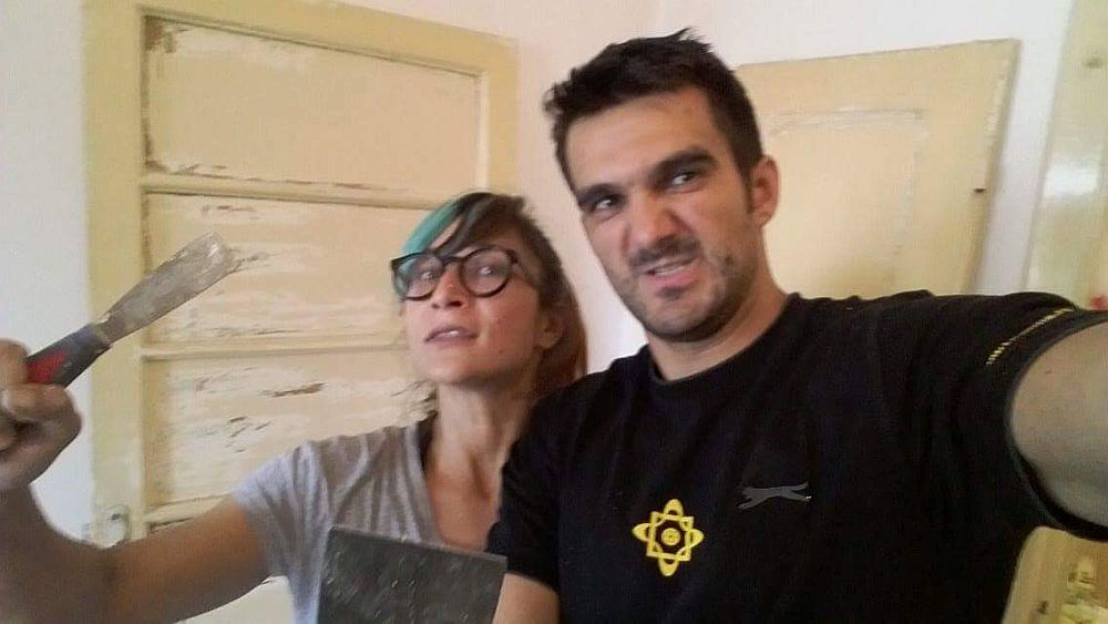 Raluca Băraru și Sorin -  selfie în perioada de șantier.