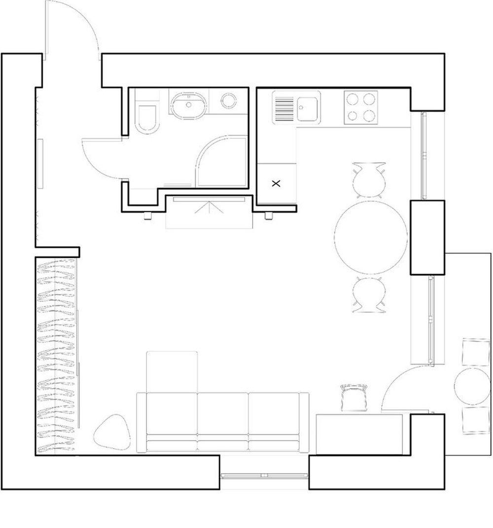 adelaparvu.com despre amenajare garsoniera 30 mp, design interior m2project (1)