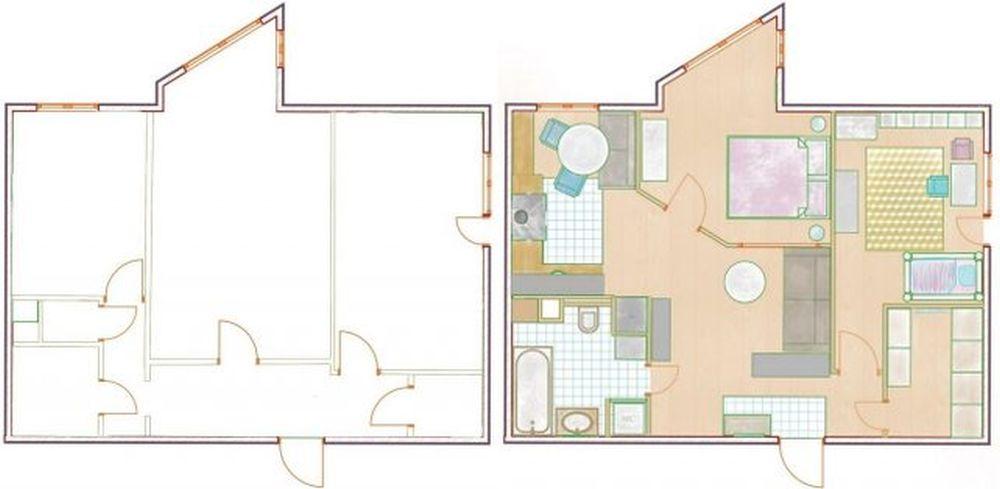 Inițial locuința avea două camere, bucătăria avea o cămara, iar de pe hol se deschidea în dreptul celui de-al doilea dormitor o debara. Problema în recompartimentare a fost numărul și dispoziția ferestrelor, dar partea bună a fost faptul că structura de rezistență a permis recompartimentarea propusă de către designer. Bucătăria și baia au fost păstrate pe poziție, bucătăria deschisă către living, iar în living a fost separat locul de dormit pentru părinți. Baia a fost ușor lărgită pentru a încadra aici mașina de spălat. Apoi debaraua a fost lărgită și transformată în dressing, luându-se puțin din spațiul fostului dormitor care a devenit camera copilului.