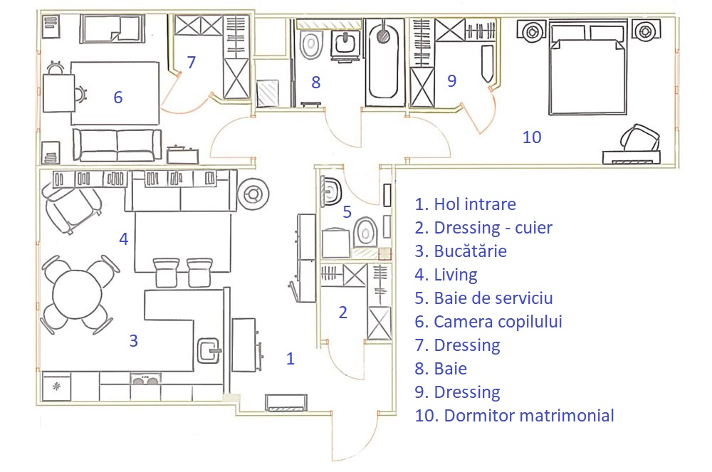 Structura blocului a permis reorganizarea camerelor, astfel că, după cum se vede în plan au putut fi create 3 dressinguri, unul la intrare, altul în camera copilului și ultimul în dormitorul părinților. Baia de serviciu este și locul mașinii de spălat, renunțându-se la o zonă de duș, iar bucătăria este deschisă către living, spațiul fiind modest pentru ca celelalte camere să fie mai aerisite, dar mai ales cu dressinguri.