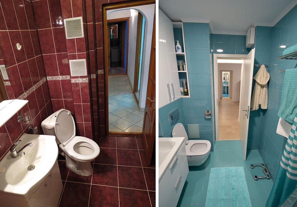 Baia mai mare înainte și după renovare. Toate finisajele vechi și obiectele sanitare au fost înlocuite.