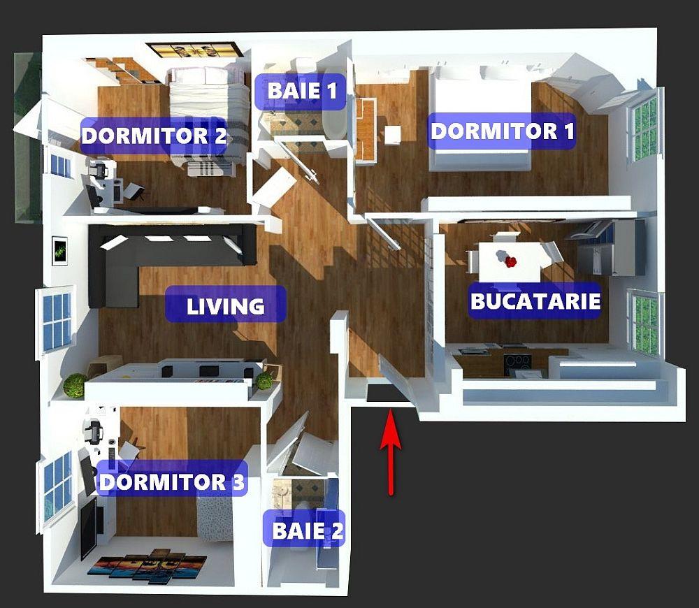 Cei doi soți și-au făcut singuri compartimentarea locuinței cu suprafață utilă de 80,27 mp (3,75 mp este balconul). Au hotărât ca fostul living să fie transformat în dormitor matrimonial, au închis bucătăria, iar dorimitorul din dreptul bucătăriei l-au deschis către hol pentru a-l transforma în living.