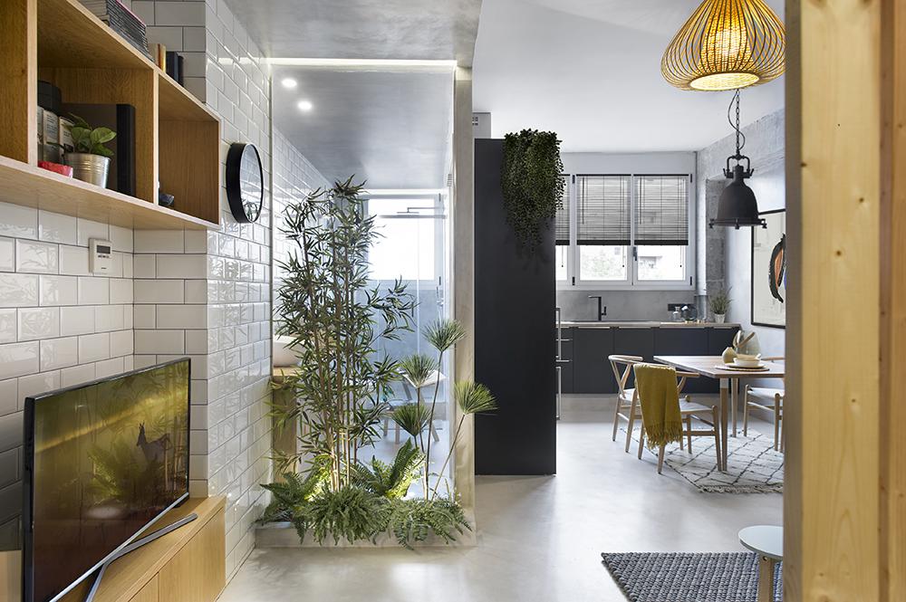 Baia este separată față de cameră printr-un panou de sticlă securizată pentru ca lumina natural ce pătrunde prin fereastra băii să ajungă și la interiorul garsonierei. Plantele vin să intimizeze baia.