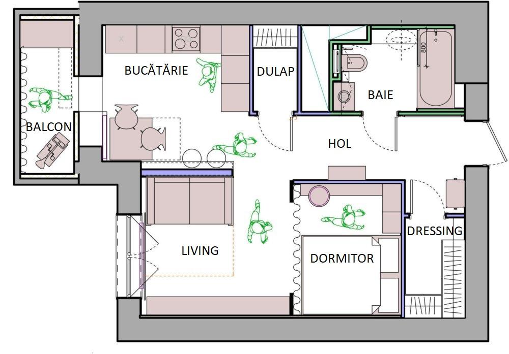 Din holul de la intrare se deschid două dressinguri. Primul mai generos, situat imediat după intrarea în casă, al doilea între baie și bucătărie. Ambele însă sunt aproape de baie, ceea ce este important. Un al spațiu de depozitare mai există pe balcon, care este închis.