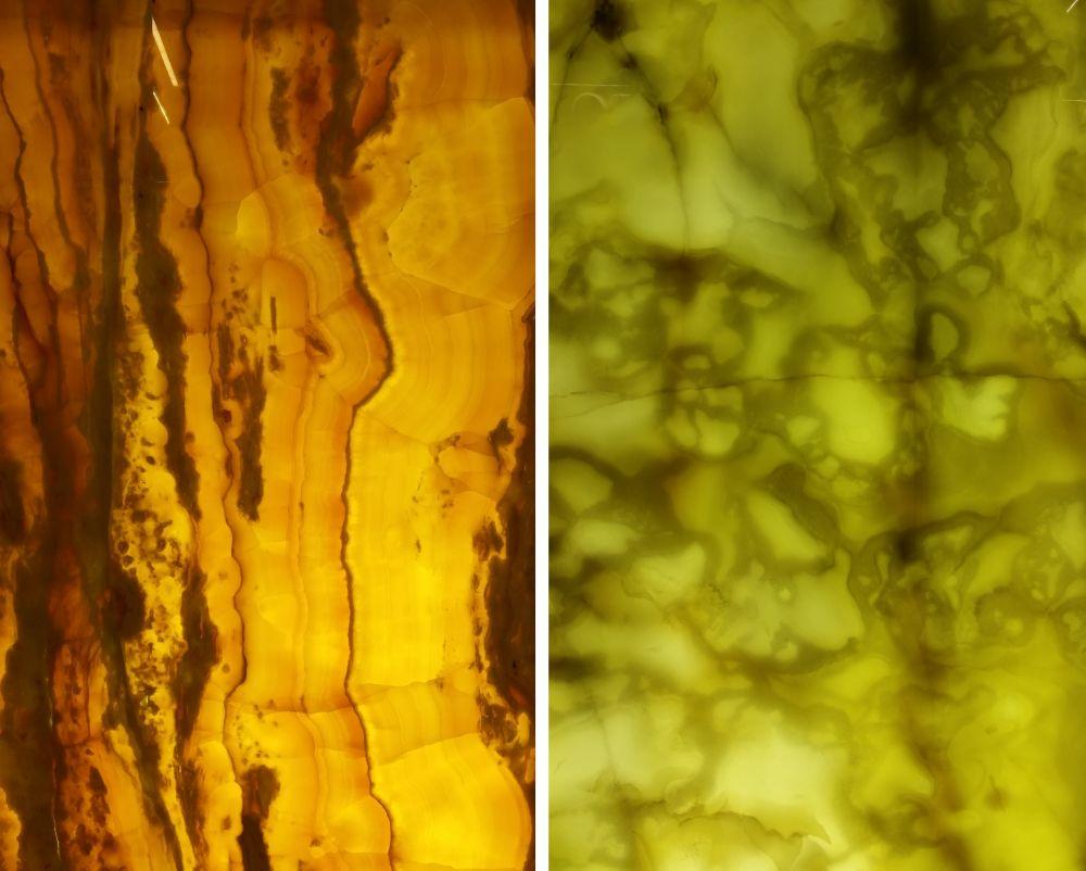 Detaliu de pietre translucide, care iluminate din spate au un aspect de-a dreptul spectaculos.