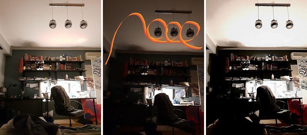 Locul de atelier al gemenilor pe timpul serii. S-au jucat cu editarea foto pe Samsung S9 și poți vedea comparativ diverse efecte.