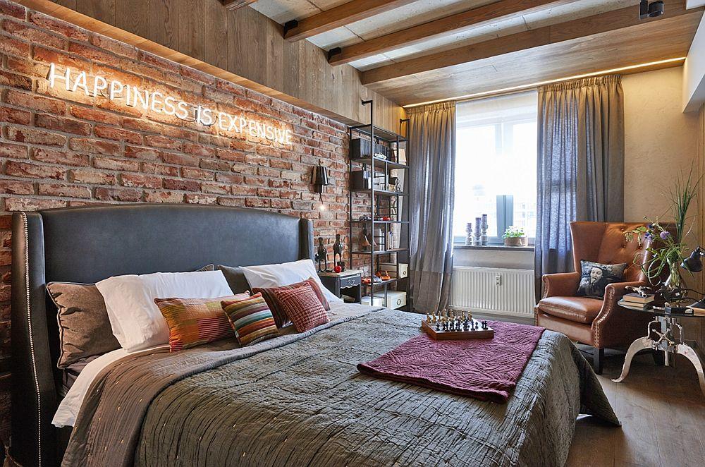 Modul de iluminare artificială a dormitorului permite crearea de scenografii de lumină variate, începând de la banda LED înglobată în grinda de deasupra patului și terminând cu cea din zona ferestrei.