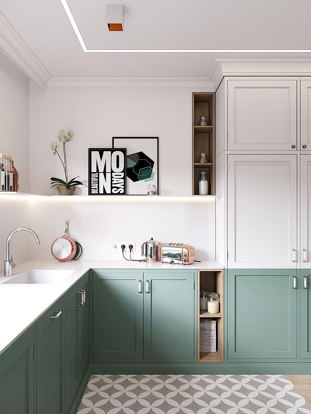 Bucătăria are un blat generos, configurat în U, dar prevăzut în aceeași nuanță albă ca și placarea pereților din zonele sensibile. În loc de corpuri suspendate sunt prevăzute rafturi, motiv de decorare pentru un spațiu în care coexistă funcțiunile, deci o aplanare a caracterului tehnic al bucătăriei.