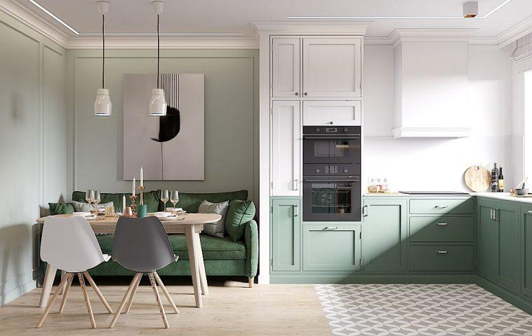 Zona de masă este gândită multifuncțional - sufragerie, dar și loc de conversație. În locul unei banchete s-a ales o canapea. Pentru a armoniza acest colț cu restul bucătăriei, arhitecții au prevăzut ca partea inferioară a mobilierului de bucătărie să fie tratat într-o nuanță de verde, continuând astfel linia dată de înălțimea spătarului canapelei.