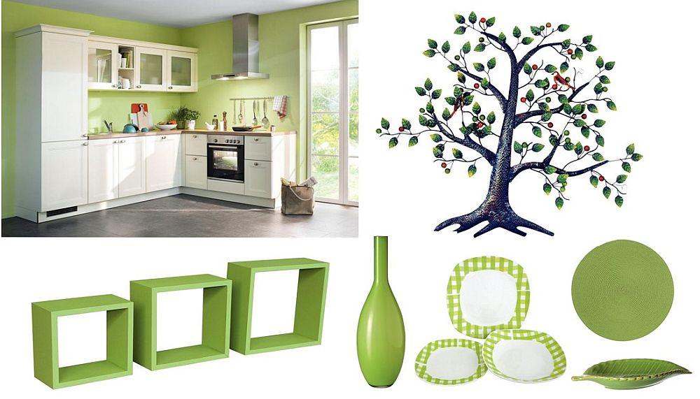 Și bucătăria merită reîmprospătată, iar dacă acest lucru nu-l poți face prin schimbarea nuanței pereților, cu siguranță poți condimenta decorul cu piese mici, dar de impact. Set 3 polițe verzi vezi dimensiuni, preț AICI Vază decorativă vezi preț AICI Set veselă cu carouri verzi vezi număr piese, preț AICI Farfurie decorativă vezi diametru, preț AICI Vad decorativ în formă de frunză vezi dimensiuni, preț AICI Sticket decorativ în formă de copac vezi dimensiuni, preț AICI