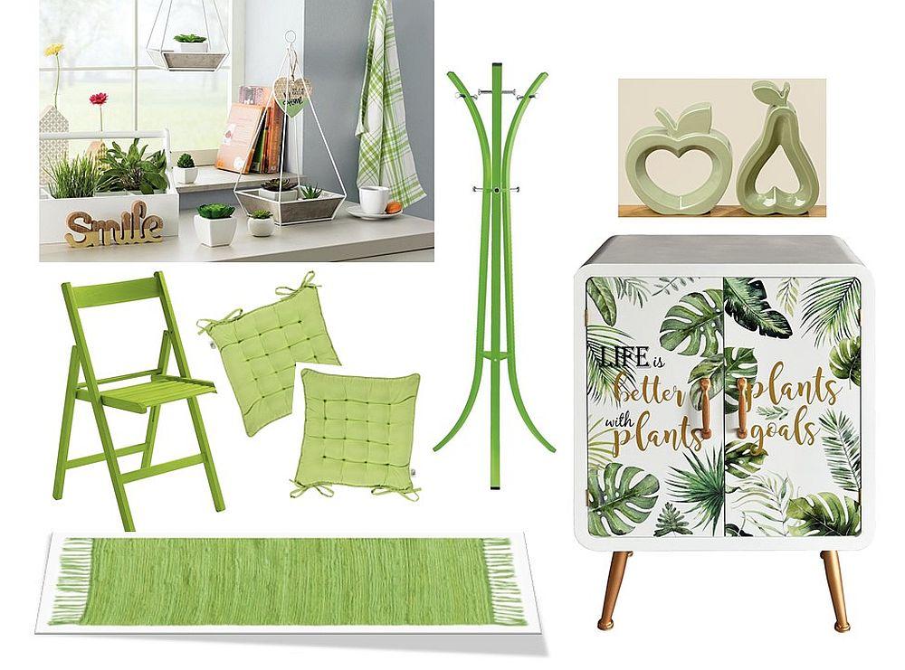 Zona de la intrarea în casă poate fi și ea înveselită cu piese care să te binedispună. O comodă care are deasupra locul de oglindă poate deveni piesa centrală când restul obiectelor sunt alese în nuanțe similare. Mini plante la ghiveci vezi dimensiuni, preț AICI Svaun pliabil vezi dimensiuni, materiale, preț AICI Perne pentru scaun vezi materiale, dimensiuni, preț AICI Carpetă verde vezi detalii AICI Cuier vezi dimensiuni, preț AICI Obiecte decorative AICI și AICI Comodă cu imprimeu vegetal vezi dimensiuni, preț AICI