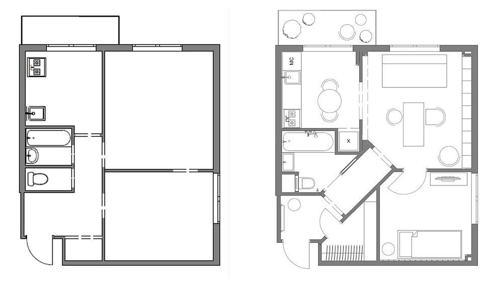 Unul din atuurile apartamentului de 38 de mp a fost situarea lui pe colțul blocului, ceea ce înseamnă lumină naturală pe două laturi ale locuinței. Partea mai puțin bună a fost suprafața mică a bucătăriei de circa 5,6 mp, lipsa spațiului de depozitare și baia foarte mica împărțită în zonă wc și separat loc de cadă plus lavoar. Soluția? Proiectarea unui hol prin care este creată o axă armonioasă în raport cu intrarea în locuință. De la intrarea în casă, în capătul holului, se vede o cameră luminoasă, ceea ce schimbă percepția asupra interiorului. În plus, prin acest hol s-a obținut mai mult spațiu în baie, o nișă pentru frigider în bucătărie și un spațiu de dressing în imediata vecinătătate a intrării în casă, păstrând pe poziție zidurile camerelor. Deci, o intervenție minimă cu maximum de efect.